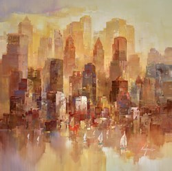 Golden Harbour II by Wilfred -  sized 38x38 inches. Available from Whitewall Galleries